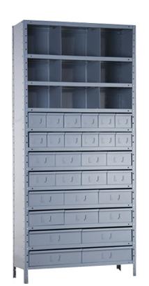 Estante com gavetas e divisores