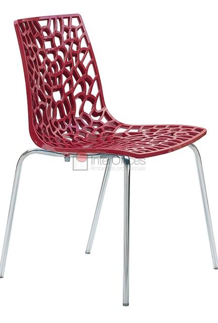 Poltrona decorativa Groove vermelha